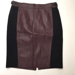 Ann Taylor Maroon Black Faux Leather Pencil Skirt
